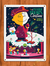 "Tin Sign ""A Charlie Brown Christmas "" Purple Art Painting Movie Poster Peanuts"