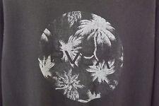 RVCA Mens Long Sleeve Crewneck Pullover Sweatshirt Palm Trees BLACK Sz Medium G