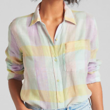 New! Gap women's rainbow 100% linen shirt - XS - oversized pastel multi blouse