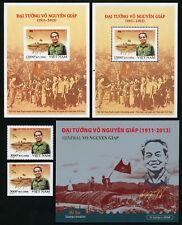 Vietnam 2017 el general vo nguyen giap 3739 a/b + bloque 170 a/b + marcas cuaderno mnh