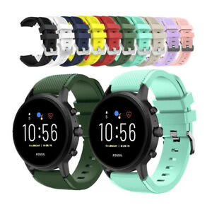 Watch Band For Fossil Gen 5, Quick Fit 22mm Rugged Silicone Sport Wrist Strap
