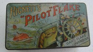 HIGNETT's PILOT FLAKE   VERY RARE   EARLY 1900s   TOBACCO TIN