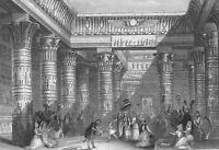 Egypt, PALACE OF QUEEN CLEOPATRA ANTONY Shakespeare ~ 1845 Art Print Engraving