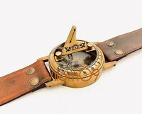 CLASSIC STEAMPUNK-SUNDIAL COMPASS WRIST-WATCH with DARK-TAN-LEATHER BRACELET