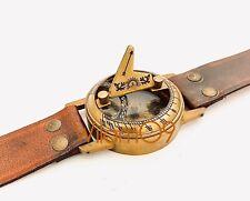 De Bronce De Barco Bolsillo Sundial Temporizador Brújula Con Cuero Funda-Dollond London