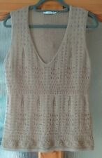 Bison Knitted Style Tank Top Gold Beige EUR 42 Mohair Merino Wool Blend Soft