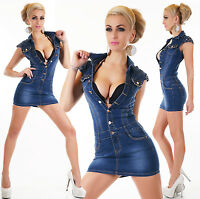 Womens Ladies Denim mini Dress light Blue wash with buttons Sizes UK 8 10 12 14
