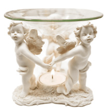 AROMA LAMP WITH GLASS BOWL Three Standing Angels Oil Burners Poly-Resin Lamp