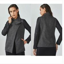 Fabletics L Jacket Milano Gray Wrap Stretch Faux Leather Sleeve Coat Large NEW