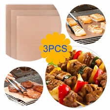 3Pcs Outdoor BBQ Copper Chef Grill Bake Mats Camping Barbecue Healthy Pad Tray