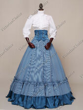 Civil War Victorian Plaid Dress Gown Pioneer Women Halloween Costume N K001 XL