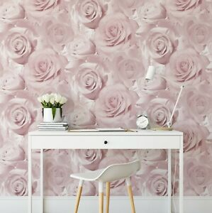 Muriva Bella Soft Pink Flower Rose Bloom 3D Effect Floral Designer Wallpaper