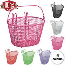 Kids Wire Hook-On Bicycle Basket - Pink, Orange, Green, Black, White, Purple