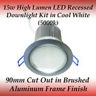 15 watt LED Recessed Downlight Kit in Cool White with Silver Frame