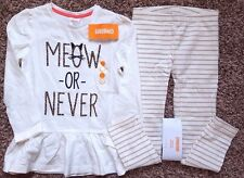 "NWT Girl's Size 5 T 5 Years 2 Piece Gymboree Cream ""Meow Or Never"" Top, Leggings"
