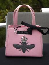 NWOT My Flat in London Pink Her Majestys Bee Rhinestone Crown Wool Bag Haedrich