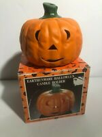 Vintage Halloween Earthenware Pumpkin Jack o' Lantern Candle Holder w/ Box Nice