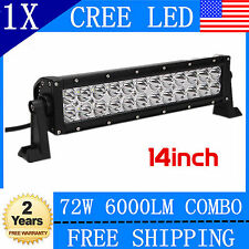 14INCH 72W CREE LED Work Light Bar Flood Spot Offroad Lamp Pickup Driving Lamp