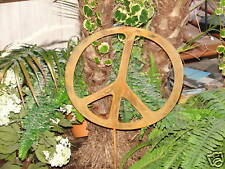 "Metal 12"" Peace Sign Rusty Garden Stake Yard Decor"