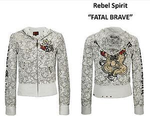 "Rebel Spirit Hoodie ""FATAL BRAVE"" Zip-Up Ivory Small S"