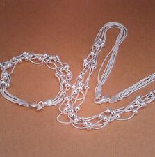 Damen Schmuck Set Halskette und Armband - Perlen - Farbe Silber - plattiert 0741