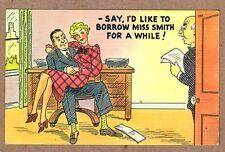 I'D LIKE TO BORROW MISS SMITH - VINTAGE WW2 POSTCARD