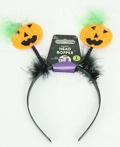 Pumpkin Design Halloween Head Boppers with Fur Headband For Kids & Adults Gift
