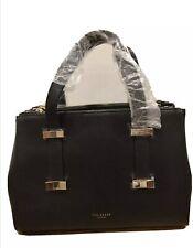 SMALL Ted Baker Black Faceted Bow Leather Handbag Removable Shoulder Strap Tote