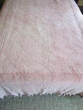 "Vintage Pink Chenille Bedspread Pom Pom Fringe 84"" x 98"" Shabby Chic"