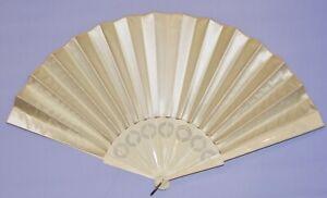 c. 1890's Victorian Large Off White Silk Satin Fan w Fancy Pierced Bone Frame