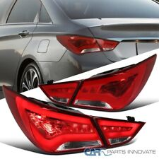 For 11-14 Hyundai Sonata Red/Clear LED Tail Lights Rear Brake Lamps LED DRL Pair