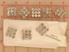 """2 Vintage Czech Metal Shank Button Silver Square Clear Rhinestone 20mm 3/4"""" #145"""