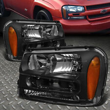 For 02-09 Chevy Trailblazer Ext Black Housing Amber Corner Headlight Head Lamps