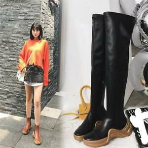 Stylish Womens genuine Leather Round Toe Over the Knee Boots Thigh High Sneaker
