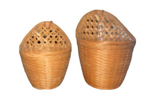 Wall Hanging Basket Flower Pot Wicker Woven Wall Plant Storage Container Bundle