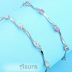 Crystal CZ Zircon Rhinestone Chain Link 925 Silver Plated Metal Bracelet Gift
