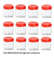 12 X 100ml Plastic Storage Jars Containers Canisters Pots Screw Top Spice Jar