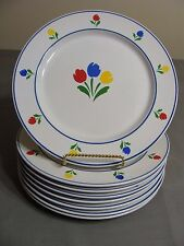 8 Tulip Tyme Stoneware Dinner Plates With Red, Blue & Yellow Tulips