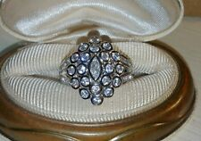 Ross Simons sterling silver Bezel bubble Cluster marquise round cz ring