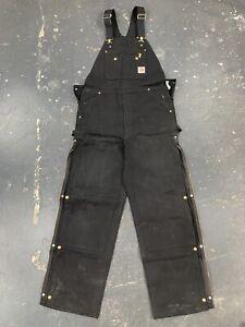 Vintage Carhartt Bib Overalls 36 X 34 Black Double Knee USA R37 Zip Ankle Leg