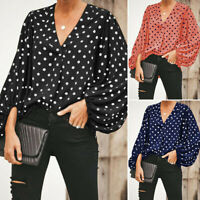 Women V-Neck Puff Sleeve Polka Dot Blouse Ruched Casual Autumn Ladies Shirt Tops