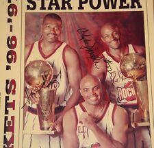 Hakeem Olajuwon/Clyde Drexler Signed Newspaper Auto PSA/DNA Houston Rockets