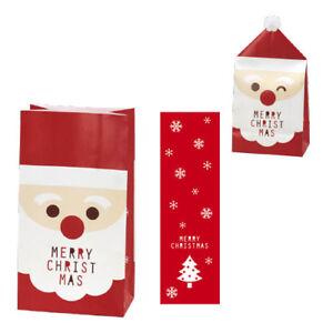 Christmas Xmas Gift Paper Wrapping Bags Cute Happy Santa Face