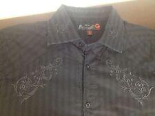 Men's Shirt GUESS Black on Black Embroidered L Graphic Design Large Cotton