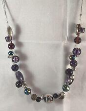 """Vintage/retro Triple Wire Purple Plum Glass Bead Necklace 10.5"""" Long"""
