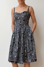 COUNTRY ROAD Black White Floral Print Sleeveless Knee Length Day Dress 8