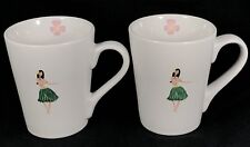 "Set of 2 Hawaiian Hula Girl Mugs ND 3 3/4"" Diameter 4.5"" Tall Floral"