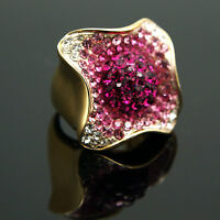 Chic flower enamel cocktail Pink Bud ring w/ Swarovski Crystals sz 7# R21
