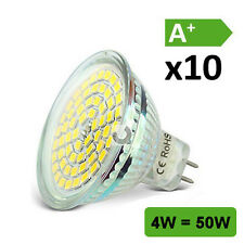 10 x MR16 Socket GU5,3 LED Bulbs / 4W (50W) / 120° Day White 6000K 12V AC/DC