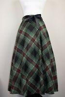 Mid Century Vintage Green Black Tartan Plaid Midi Swing Skirt BNWT Size 12 14 16